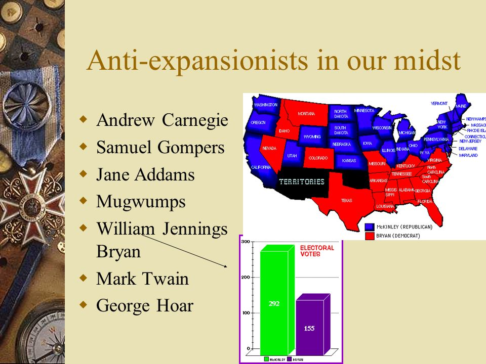 Anti-expansionists in our midst Andrew Carnegie Samuel Gompers Jane Addams Mugwumps William Jennings Bryan Mark Twain George Hoar