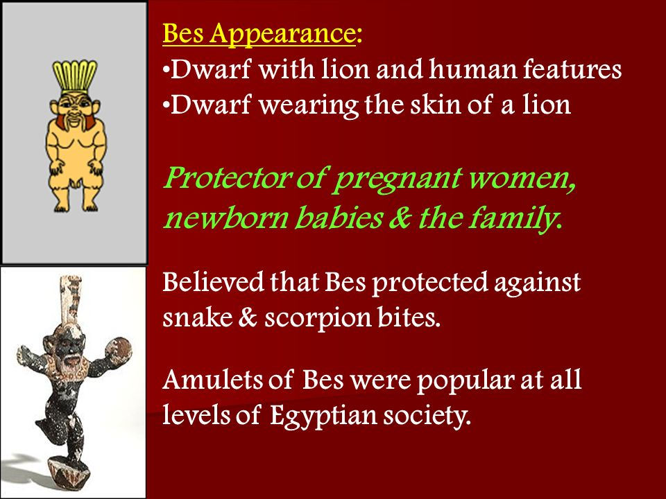 Bes Appearance: Dwarf with lion and human features Dwarf wearing the skin of a lion Protector of pregnant women, newborn babies & the family. Believed