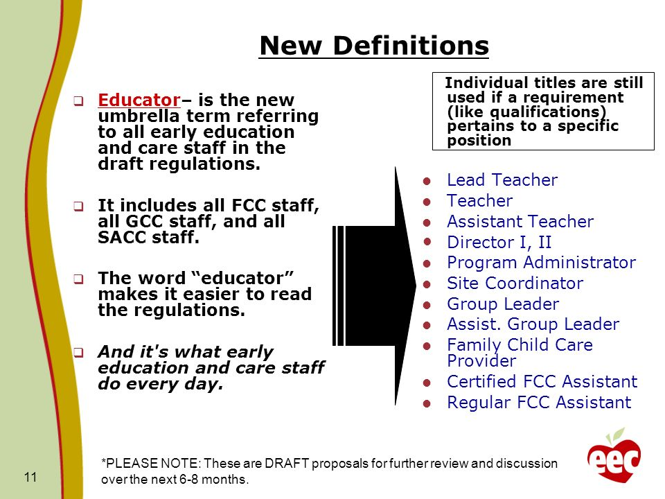 11 New Definitions Educator– is the new umbrella term referring to all early education and care staff in the draft regulations. It includes all FCC st