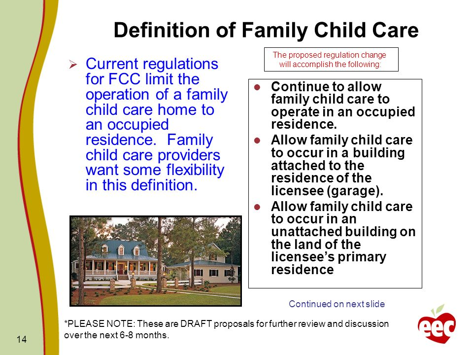 14 Definition of Family Child Care Current regulations for FCC limit the operation of a family child care home to an occupied residence. Family child
