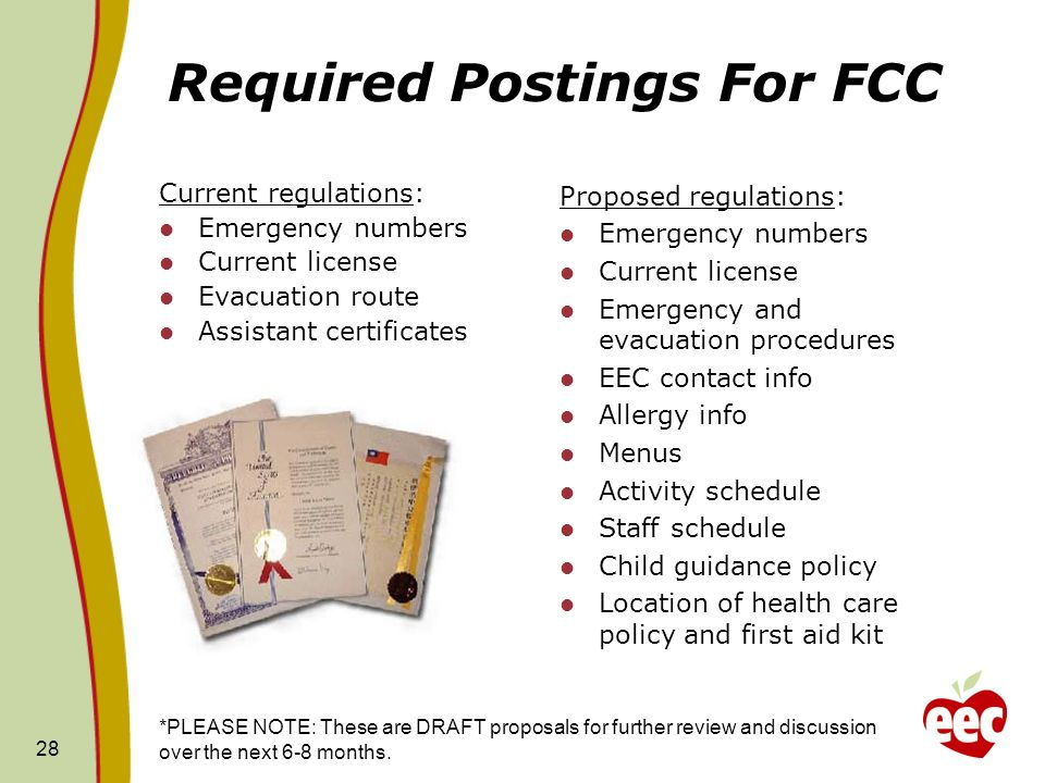 28 Required Postings For FCC Current regulations: Emergency numbers Current license Evacuation route Assistant certificates Proposed regulations: Emer