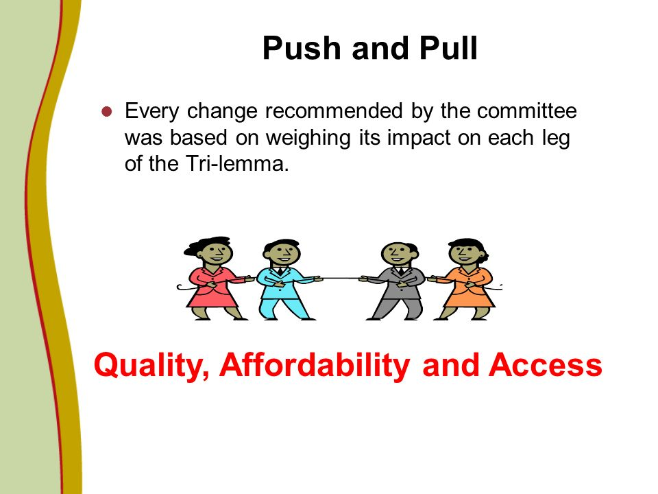 Push and Pull Every change recommended by the committee was based on weighing its impact on each leg of the Tri-lemma. Quality, Affordability and Acce