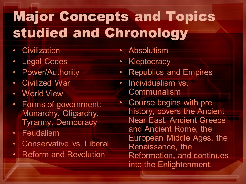 Major Concepts and Topics studied and Chronology Civilization Legal Codes Power/Authority Civilized War World View Forms of government: Monarchy, Oligarchy, Tyranny, Democracy Feudalism Conservative vs.