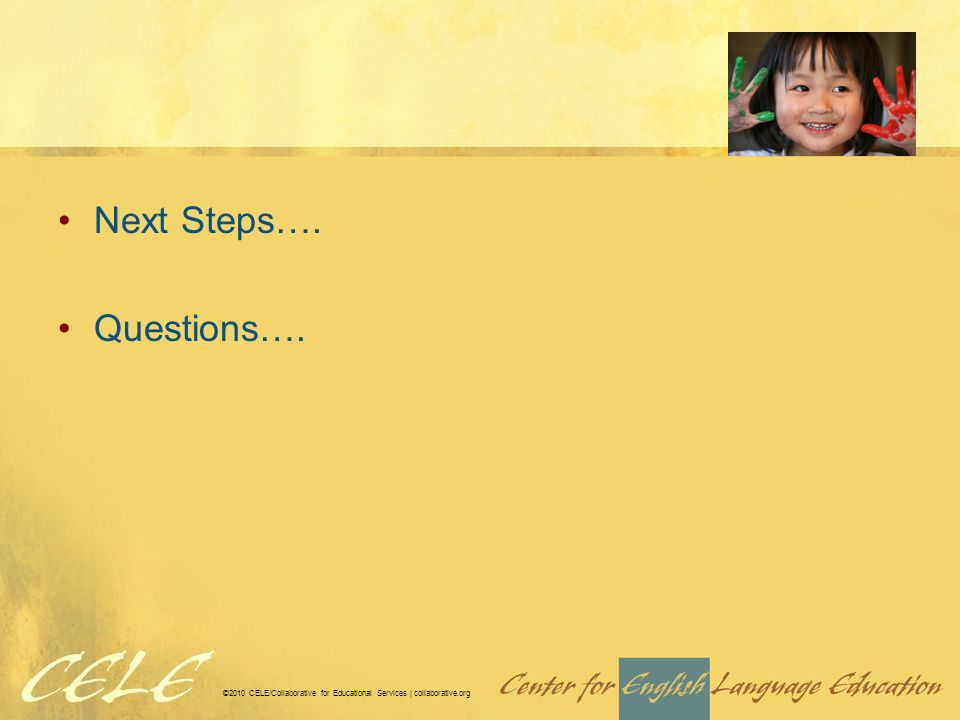 ©2010 CELE/Collaborative for Educational Services | collaborative.org Next Steps…. Questions….