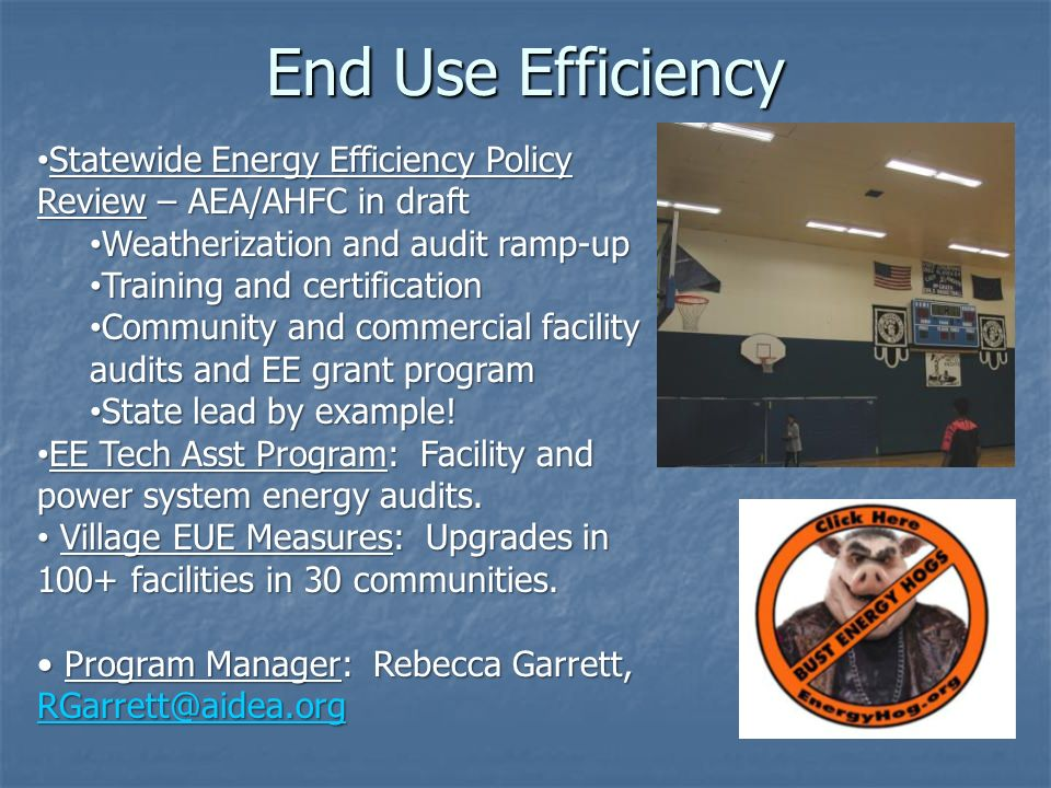End Use Efficiency Statewide Energy Efficiency Policy Review – AEA/AHFC in draft Statewide Energy Efficiency Policy Review – AEA/AHFC in draft Weatherization and audit ramp-up Weatherization and audit ramp-up Training and certification Training and certification Community and commercial facility audits and EE grant program Community and commercial facility audits and EE grant program State lead by example.