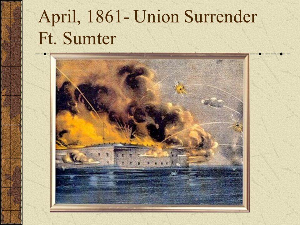 April, 1861- Union Surrender Ft. Sumter