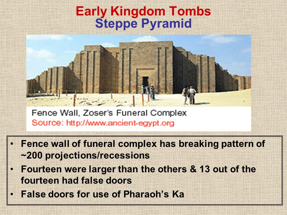 Early Kingdom Tombs Steppe Pyramid Fence wall of funeral complex has breaking pattern of ~200 projections/recessions Fourteen were larger than the oth