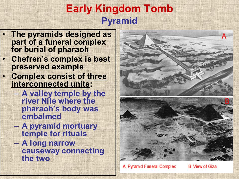 Early Kingdom Tomb Pyramid The pyramids designed as part of a funeral complex for burial of pharaoh Chefrens complex is best preserved example Complex