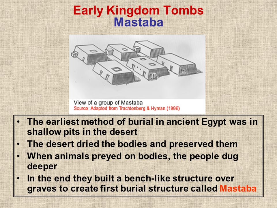Early Kingdom Tombs Mastaba The earliest method of burial in ancient Egypt was in shallow pits in the desert The desert dried the bodies and preserved