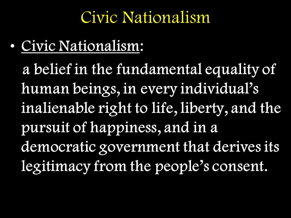 Racial Nationalism Racial Nationalism: a belief that… –conceives of America in ethnoracial terms, as a people held together by common blood and skin color and by an inherited fitness for self-government.
