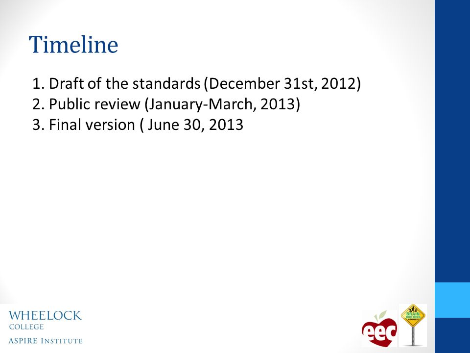 Timeline 1. Draft of the standards (December 31st, 2012) 2.