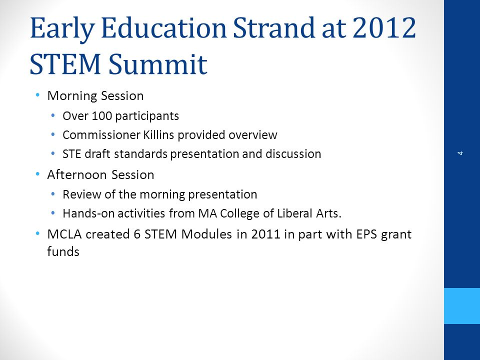 Early Education Strand at 2012 STEM Summit Morning Session Over 100 participants Commissioner Killins provided overview STE draft standards presentation and discussion Afternoon Session Review of the morning presentation Hands-on activities from MA College of Liberal Arts.