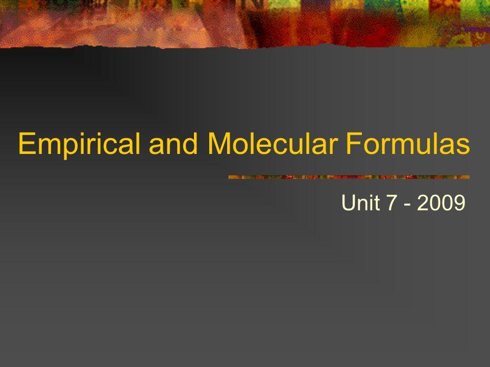 Empirical and Molecular Formulas Unit 7 - 2009