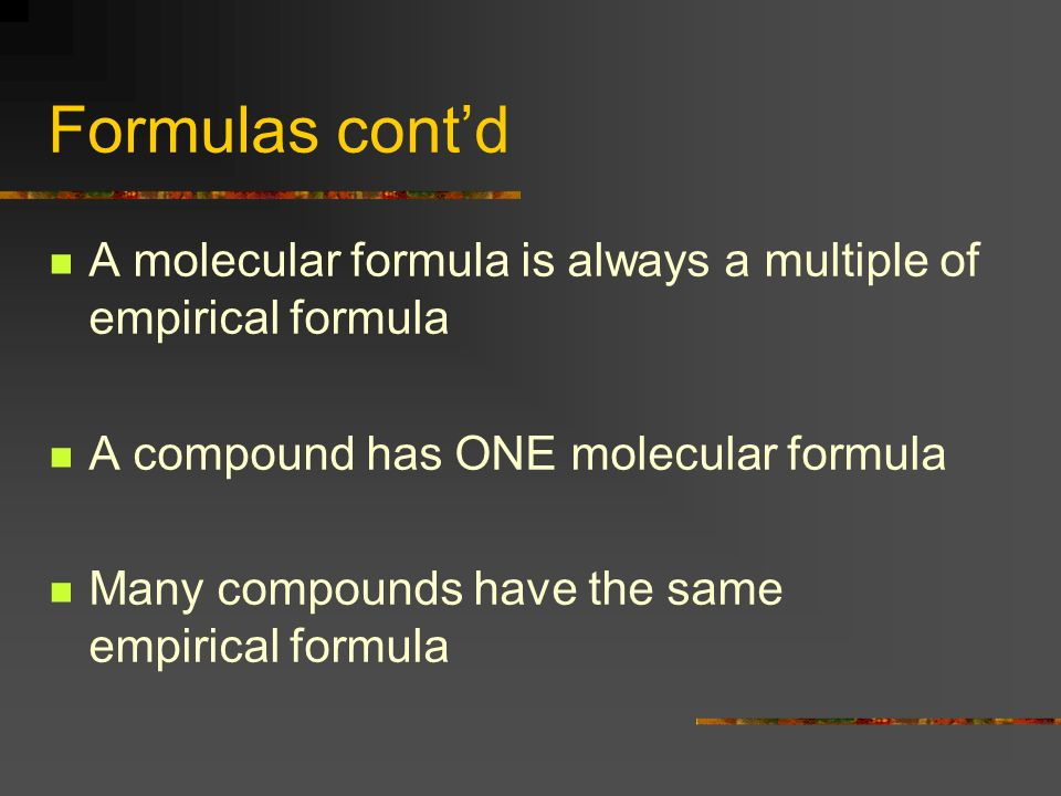 Example 0.18 grams of magnesium react with 0.12 grams of oxygen to form magnesium oxide Convert all grams to moles Divide all numbers of moles by the smallest # present (do a ratio!) Multiply all numbers by the smallest # that will make them WHOLE NUMBERS