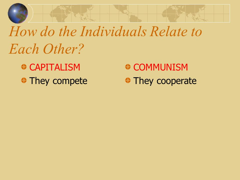 How is Wealth Distributed CAPITALISM According to the merit or skill of the individual COMMUNISM According to need