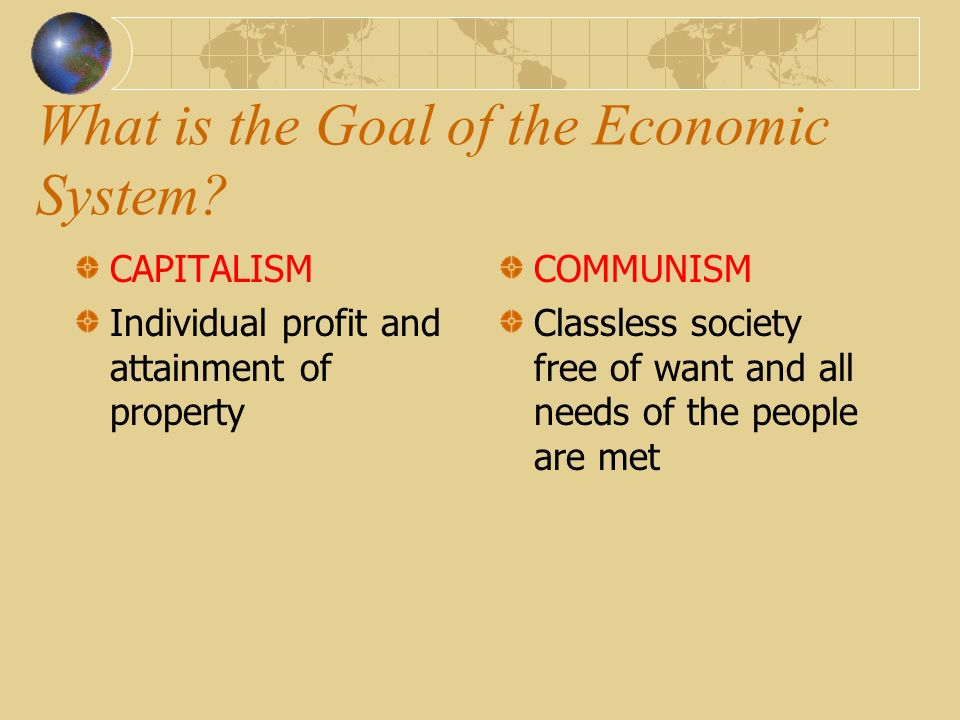 How do the Individuals Relate to Each Other? CAPITALISM They compete COMMUNISM They cooperate