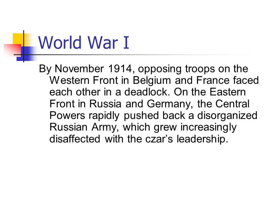 World War I World War I resulted in greater loss of life and property than any previous war.