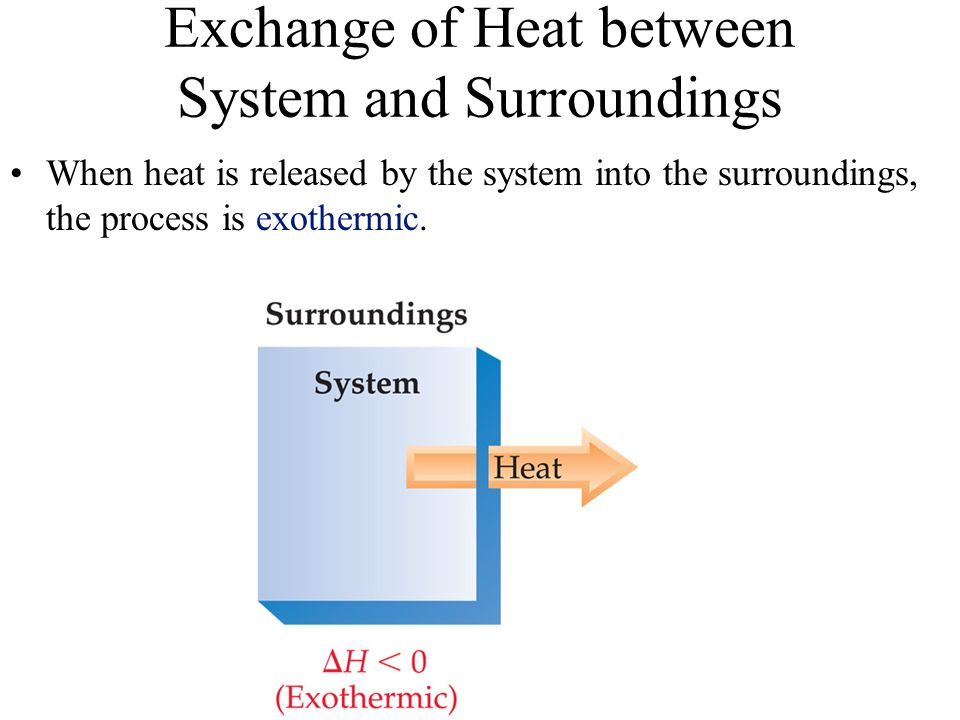 Exchange of Heat between System and Surroundings When heat is released by the system into the surroundings, the process is exothermic.