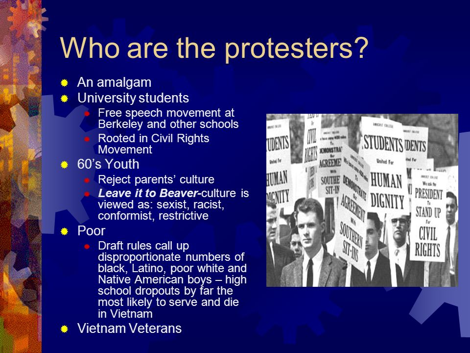 SDS: Students for a Democratic Society April 1965: 20,000 protests in DC Teachers start protest at Univ.