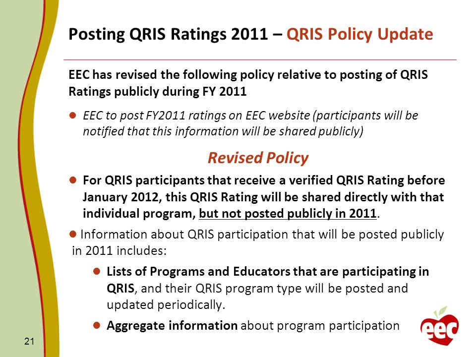Posting QRIS Ratings 2011 – QRIS Policy Update EEC has revised the following policy relative to posting of QRIS Ratings publicly during FY 2011 EEC to