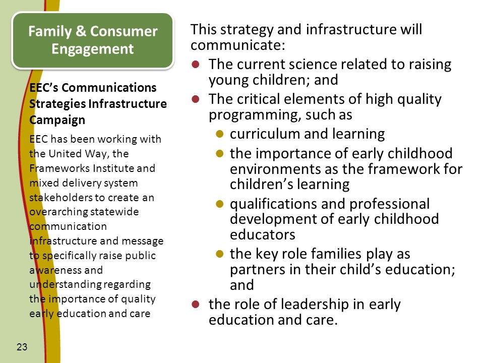 EECs Communications Strategies Infrastructure Campaign This strategy and infrastructure will communicate: The current science related to raising young
