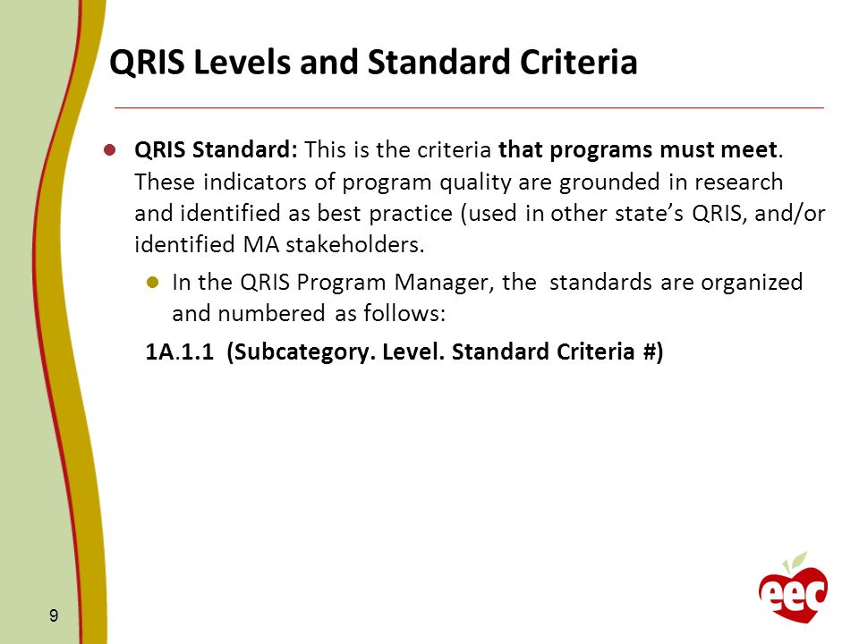 QRIS Levels and Standard Criteria QRIS Standard: This is the criteria that programs must meet. These indicators of program quality are grounded in res