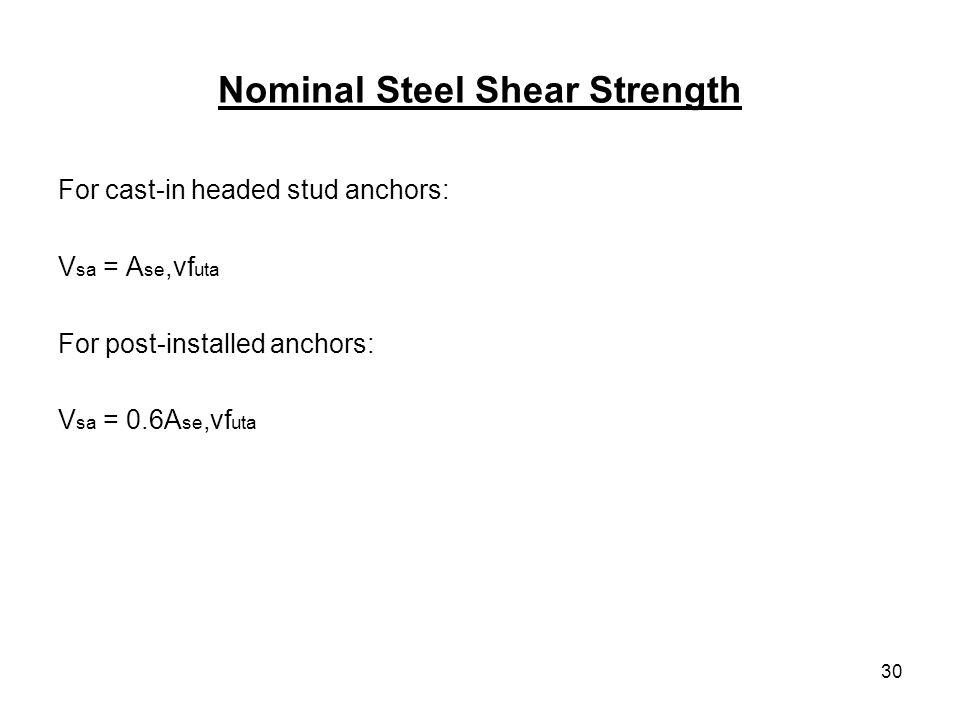 30 Nominal Steel Shear Strength For cast-in headed stud anchors: V sa = A se,vf uta For post-installed anchors: V sa = 0.6A se,vf uta