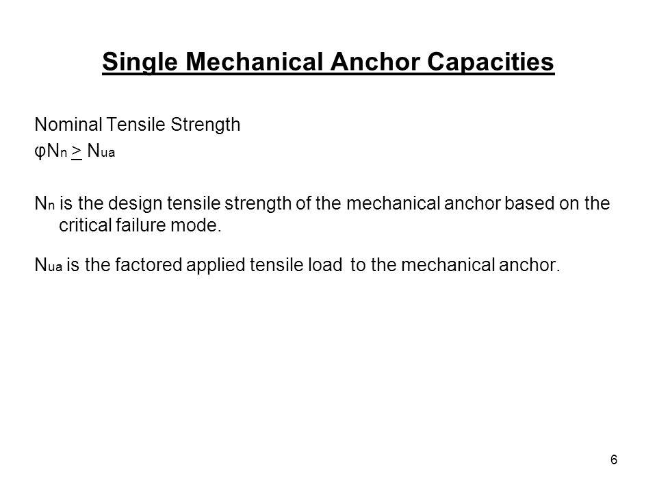 6 Single Mechanical Anchor Capacities Nominal Tensile Strength φN n > N ua N n is the design tensile strength of the mechanical anchor based on the cr