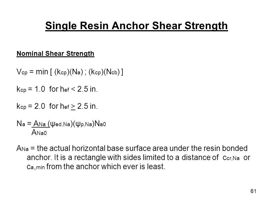 61 Single Resin Anchor Shear Strength Nominal Shear Strength V cp = min [ (k cp )(N a ) ; (k cp )(N cb ) ] k cp = 1.0 for h ef < 2.5 in. k cp = 2.0 fo