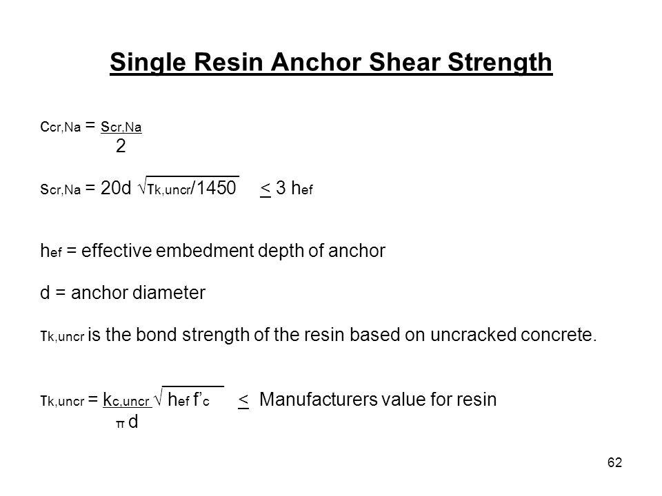 62 Single Resin Anchor Shear Strength c cr,Na = s cr,Na 2 _________ s cr,Na = 20d τ k,uncr /1450 < 3 h ef h ef = effective embedment depth of anchor d