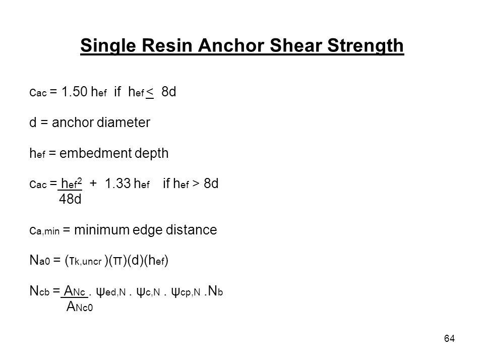 64 Single Resin Anchor Shear Strength c ac = 1.50 h ef if h ef < 8d d = anchor diameter h ef = embedment depth c ac = h ef 2 + 1.33 h ef if h ef > 8d