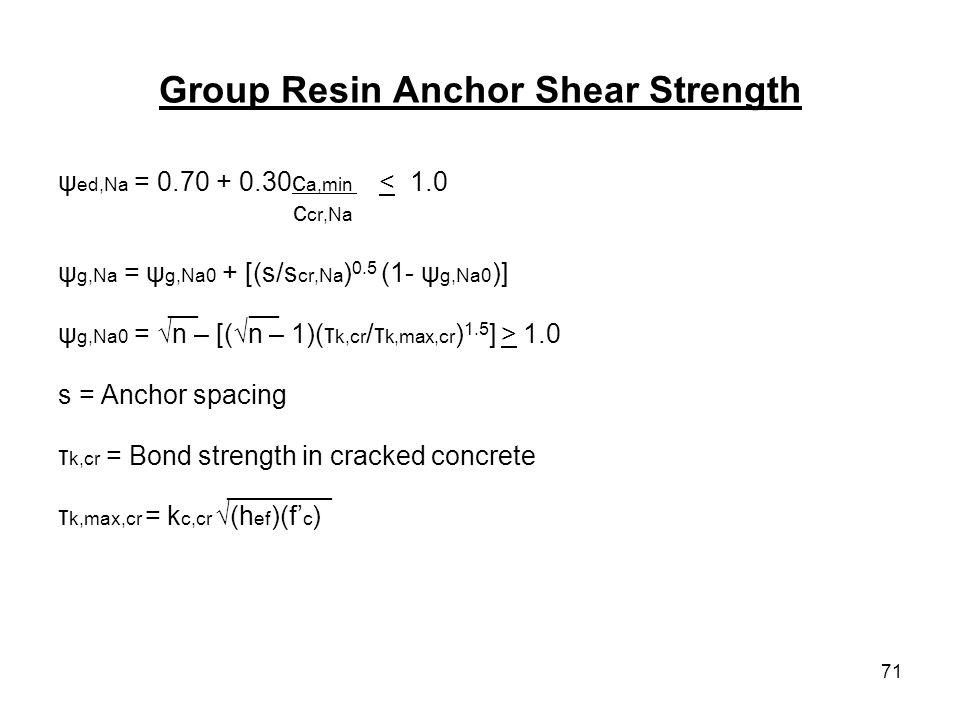 71 Group Resin Anchor Shear Strength ψ ed,Na = 0.70 + 0.30c a,min < 1.0 c cr,Na ψ g,Na = ψ g,Na0 + [(s/s cr,Na ) 0.5 (1- ψ g,Na0 )] __ __ ψ g,Na0 = n