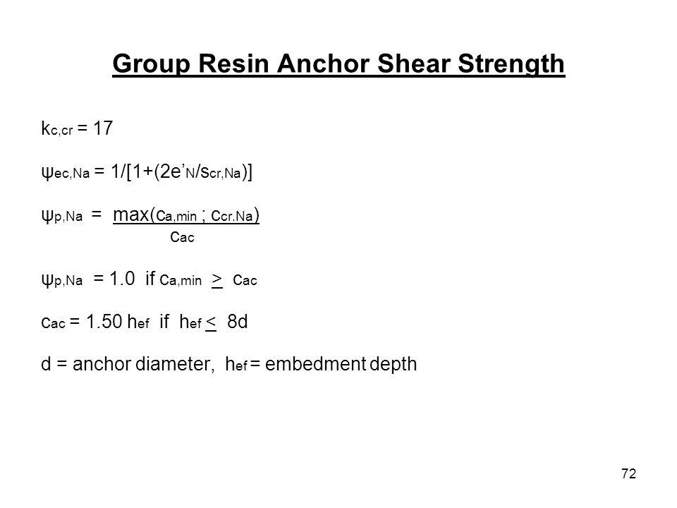 72 Group Resin Anchor Shear Strength k c,cr = 17 ψ ec,Na = 1/[1+(2e N /s cr,Na )] ψ p,Na = max(c a,min ; c cr.Na ) c ac ψ p,Na = 1.0 if c a,min > c ac