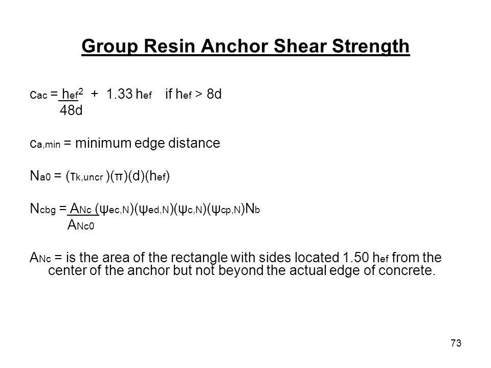 73 Group Resin Anchor Shear Strength c ac = h ef 2 + 1.33 h ef if h ef > 8d 48d c a,min = minimum edge distance N a0 = (τ k,uncr )( π )(d)(h ef ) N cb