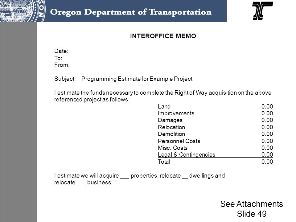 INTEROFFICE MEMO Date: To: From: Subject: Programming Estimate for Example Project I estimate the funds necessary to complete the Right of Way acquisi