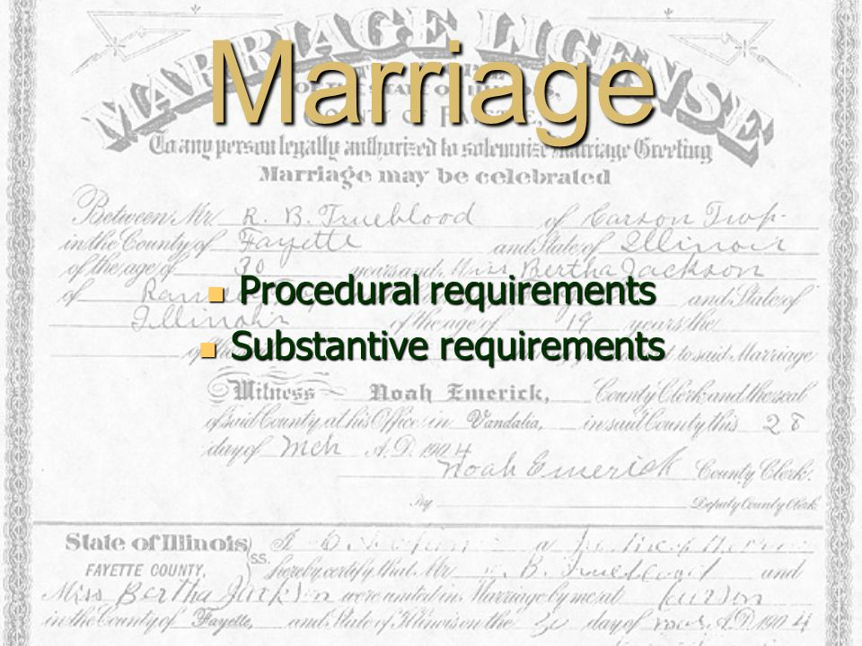 Marriage Procedural requirements Procedural requirements Substantive requirements Substantive requirements