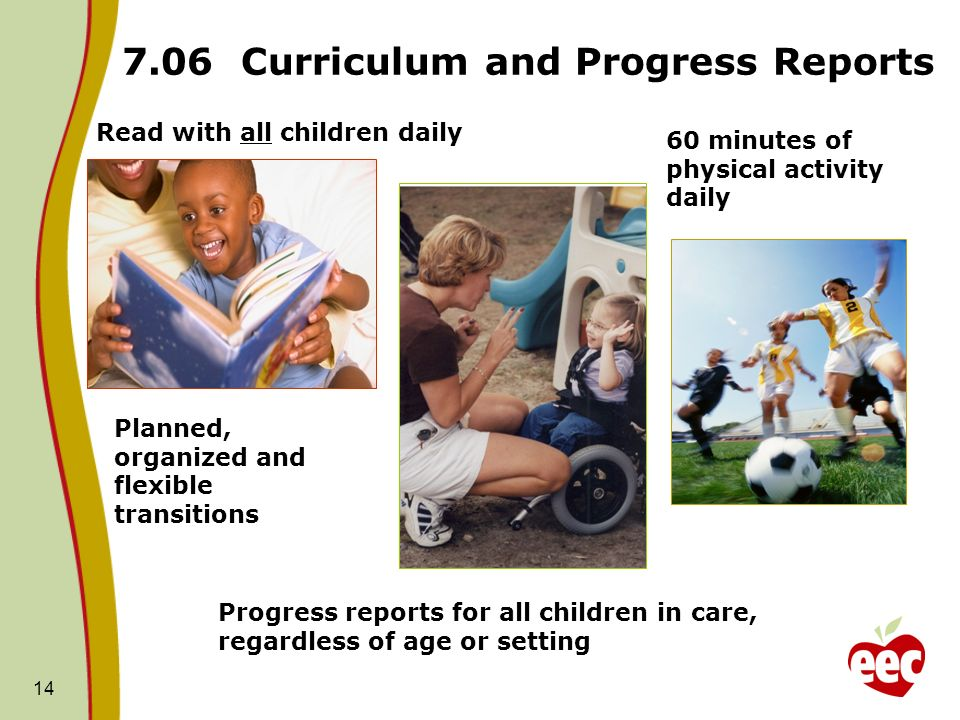14 7.06 Curriculum and Progress Reports Read with all children daily 60 minutes of physical activity daily Planned, organized and flexible transitions