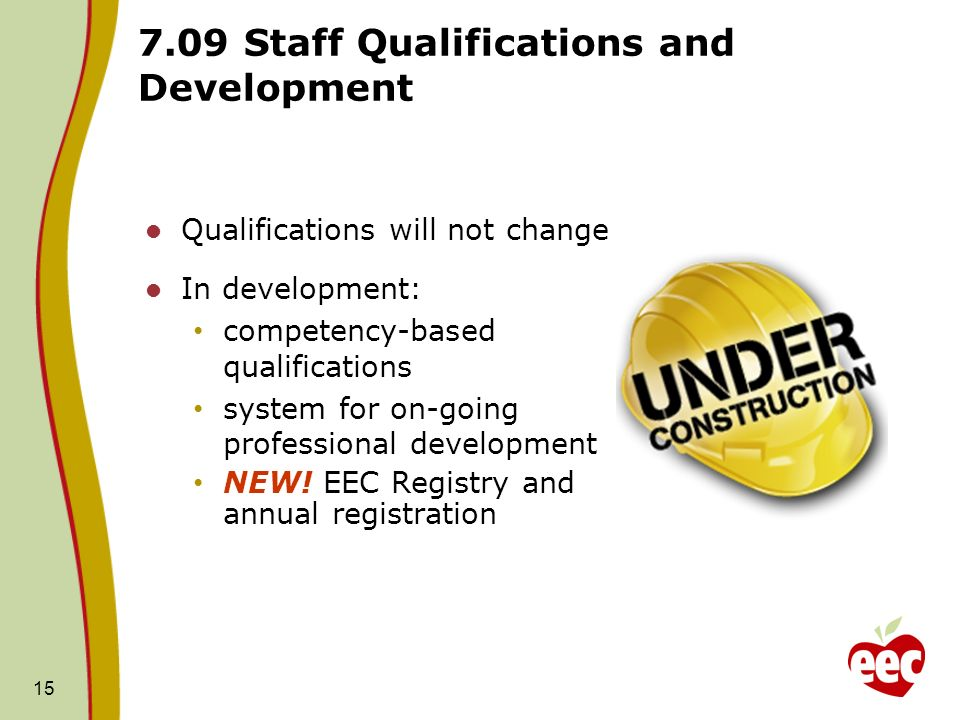 15 7.09 Staff Qualifications and Development Qualifications will not change In development: competency-based qualifications system for on-going profes