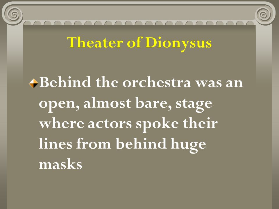 Theater of Dionysus Behind the orchestra was an open, almost bare, stage where actors spoke their lines from behind huge masks