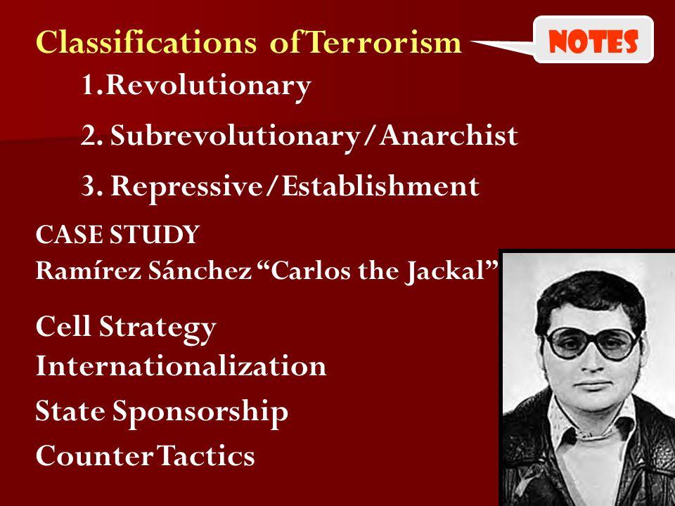 Classifications of Terrorism 3. Repressive/Establishment CASE STUDY Ramírez Sánchez Carlos the Jackal Cell Strategy State Sponsorship Counter Tactics