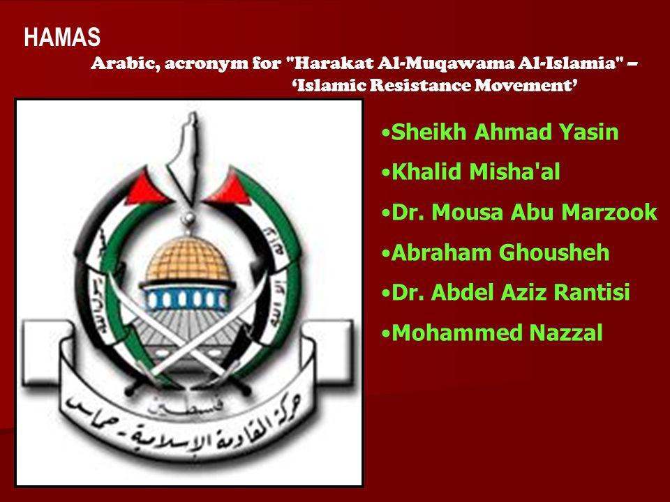 ACW The Middle East: Terrorism 2006-07 HAMAS Arabic, acronym for