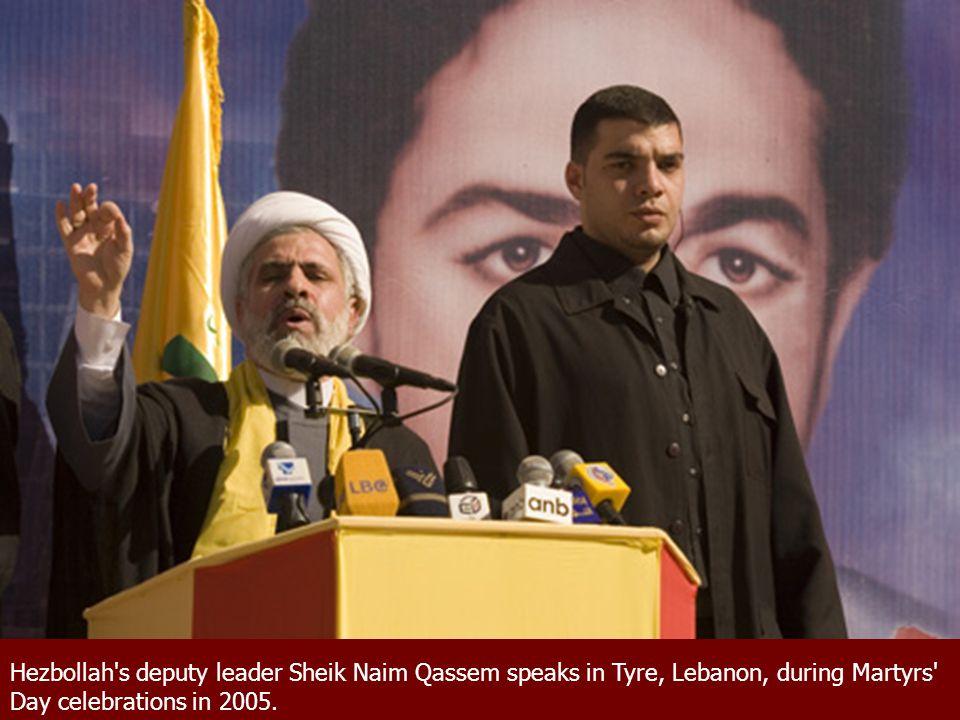 Hezbollah's deputy leader Sheik Naim Qassem speaks in Tyre, Lebanon, during Martyrs' Day celebrations in 2005.