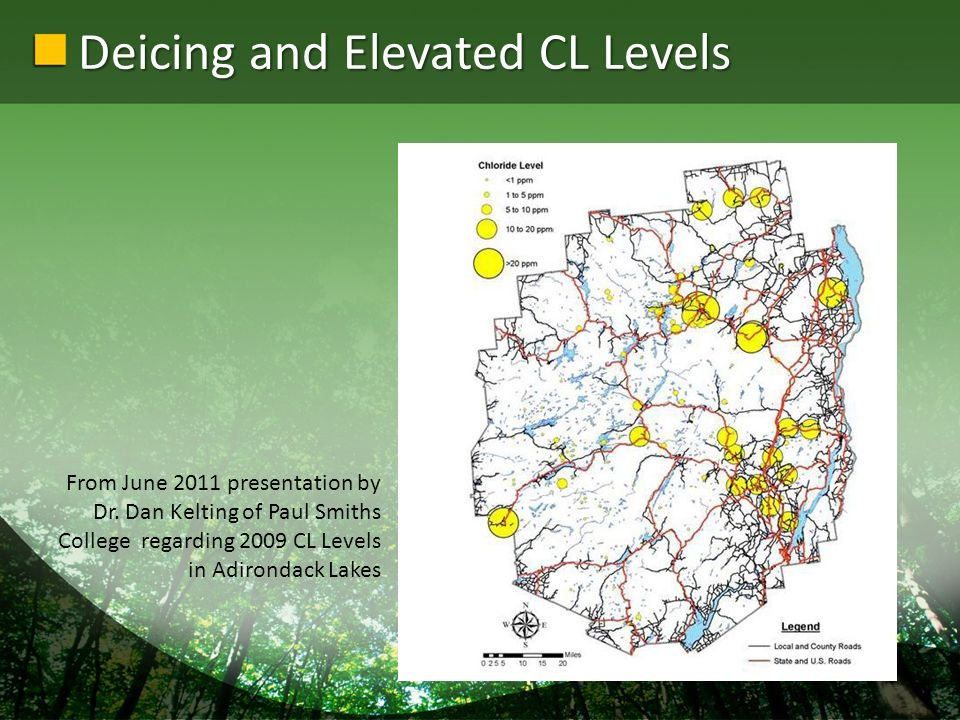 Deicing and Elevated CL Levels From June 2011 presentation by Dr.