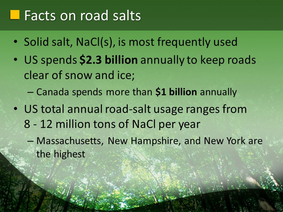 Facts on road salts Solid salt, NaCl(s), is most frequently used US spends $2.3 billion annually to keep roads clear of snow and ice; – Canada spends more than $1 billion annually US total annual road-salt usage ranges from 8 - 12 million tons of NaCl per year – Massachusetts, New Hampshire, and New York are the highest