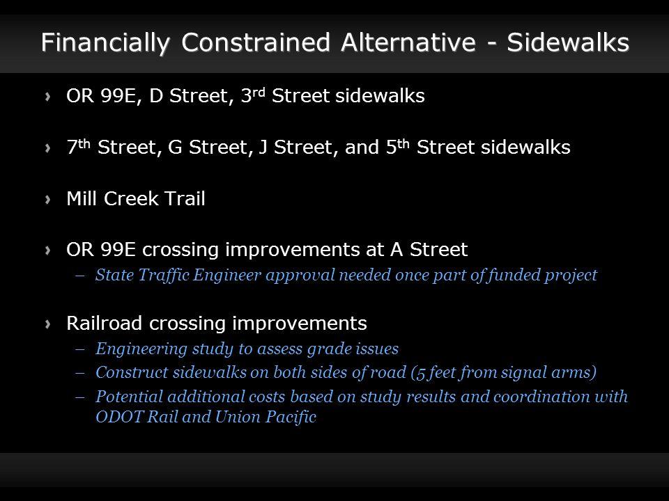 Financially Constrained Alternative - Sidewalks