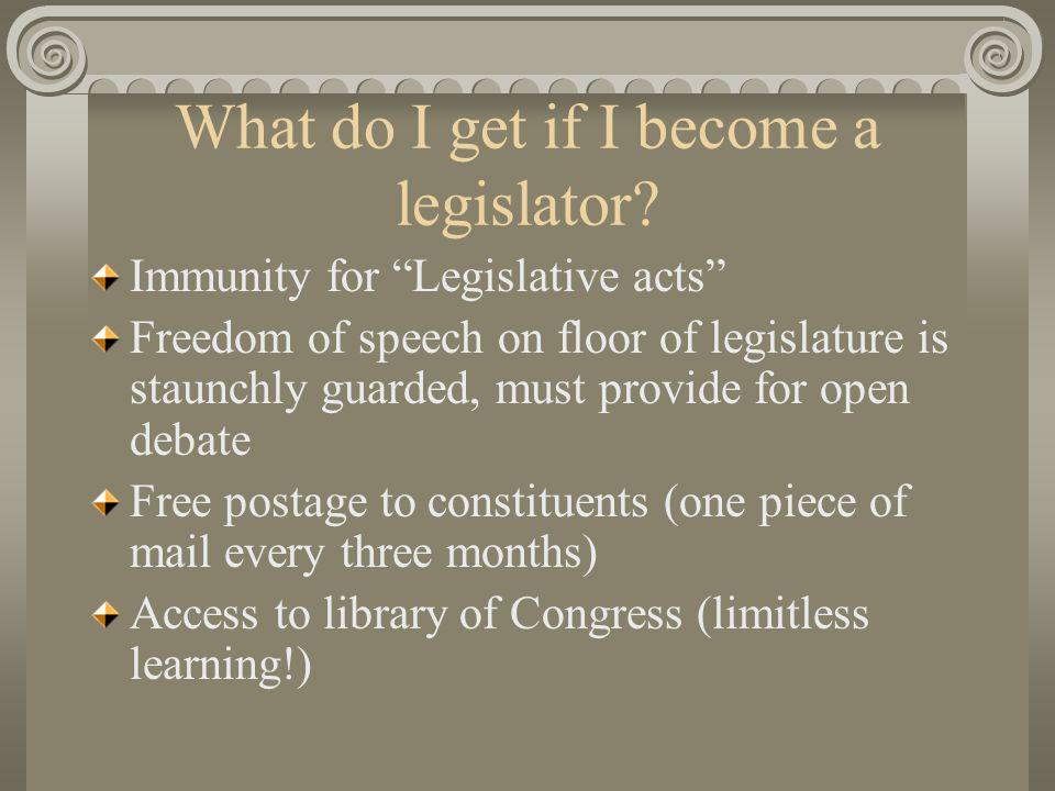 What do I get if I become a legislator.