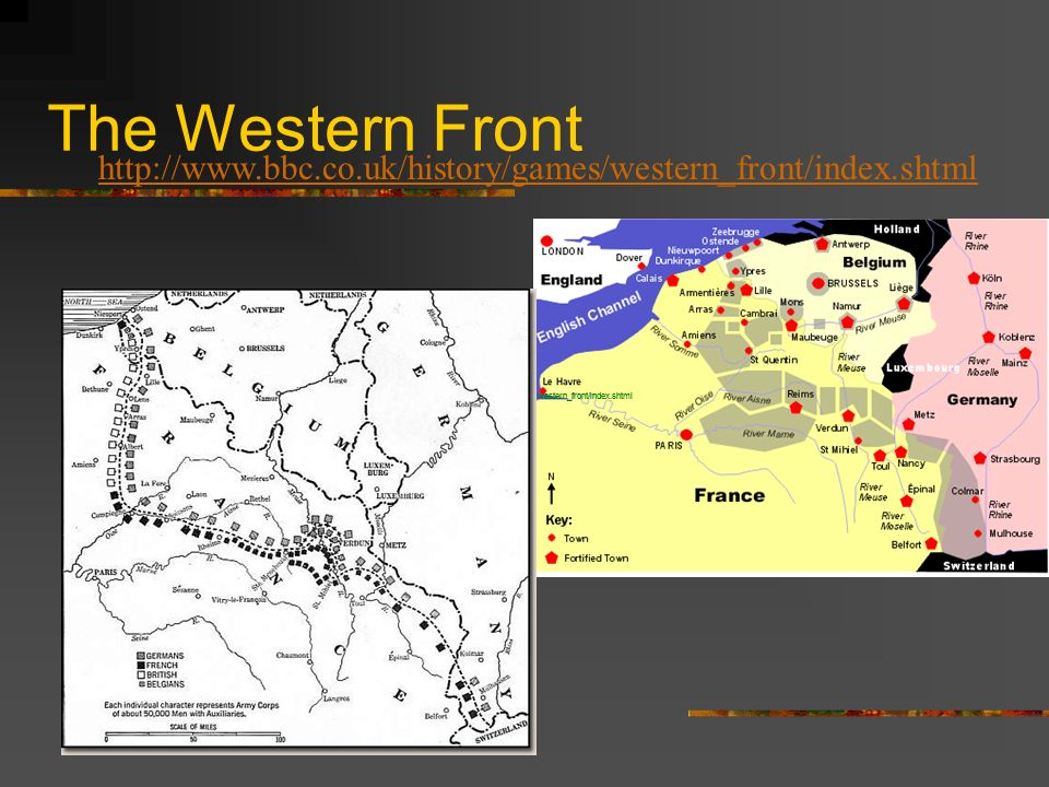 The Western Front www.bbc.co.uk/history/games/ western_front/index.shtml http://www.bbc.co.uk/history/games/western_front/index.shtml