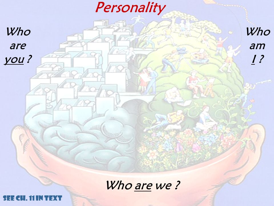 Personality Who are we ? See Ch. 11 in Text Who are you ? Who am I ?