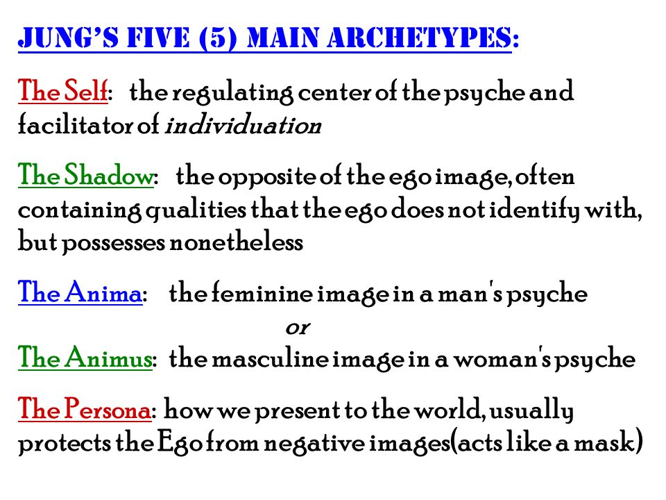 Jungs five (5) main archetypes : The Self: the regulating center of the psyche and facilitator of individuation The Shadow: the opposite of the ego im