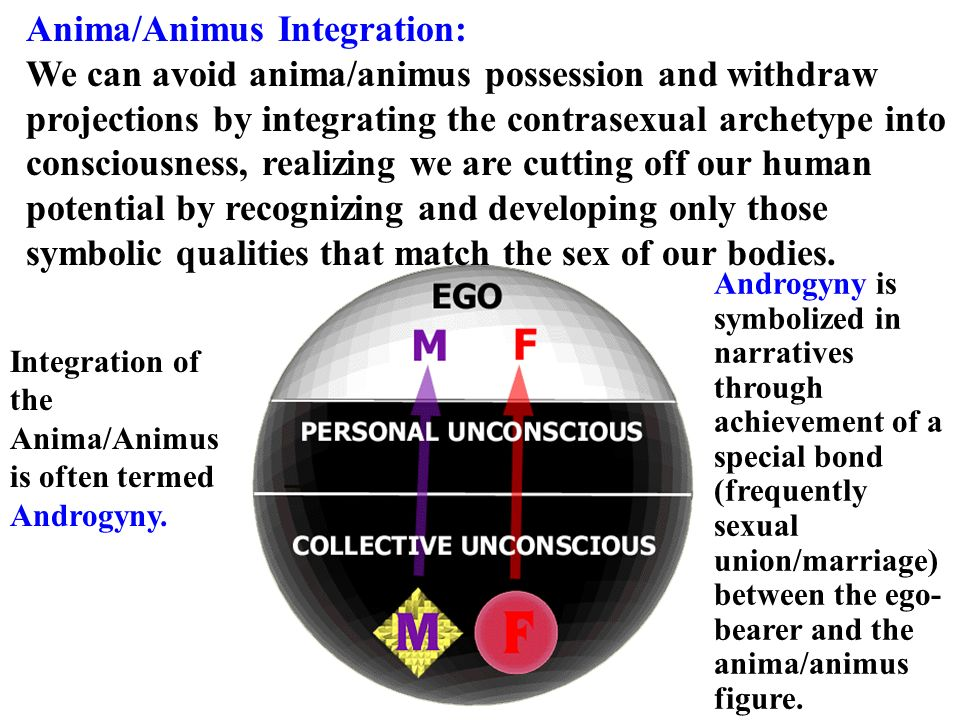 Anima/Animus Integration: We can avoid anima/animus possession and withdraw projections by integrating the contrasexual archetype into consciousness,